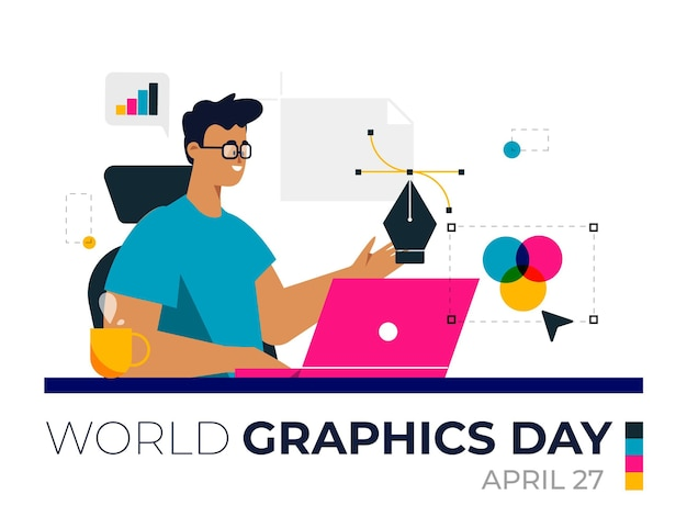 Illustration De La Journée Des Graphiques Du Monde Plat Vecteur gratuit