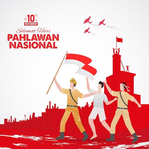 Illustration De La Journée Des Héros De Pahlawan Design Plat Vecteur Premium