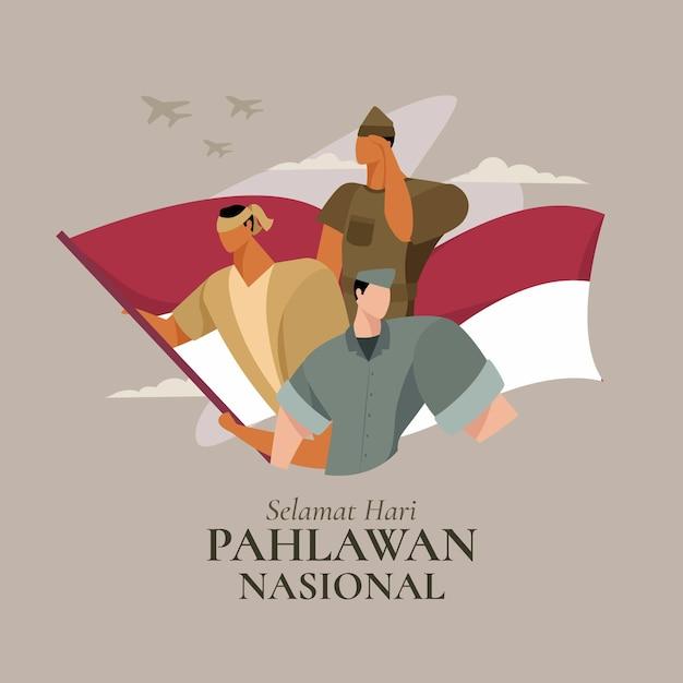 Illustration De La Journée Des Héros Pahlawan Design Plat Vecteur gratuit