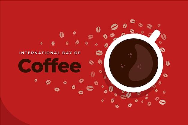 Illustration De La Journée Internationale Du Café Plat Vecteur Premium