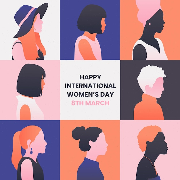 Illustration De La Journée Internationale De La Femme Dégradée Vecteur gratuit