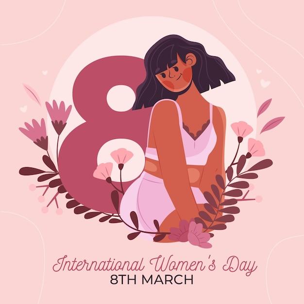 Illustration De La Journée Internationale De La Femme Dessinée à Plat Avec Femme Et Fleurs Vecteur Premium