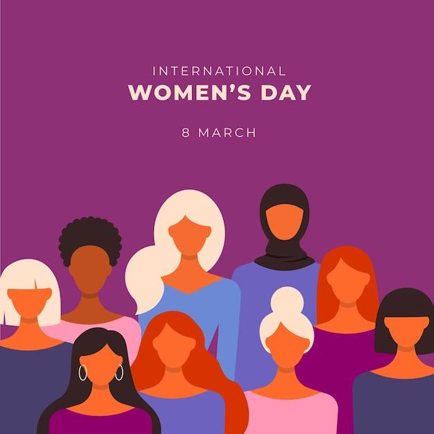 Illustration De La Journée Internationale De La Femme Plate Vecteur gratuit