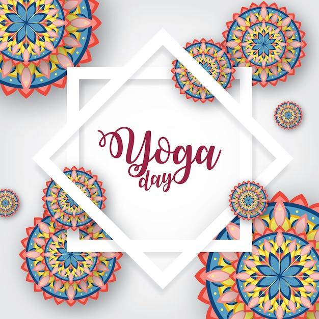 Illustration de journée internationale de yoga avec ornement de mandala Vecteur Premium