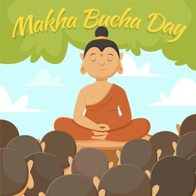 Illustration De La Journée Makha Bucha Dessinée à La Main Vecteur gratuit