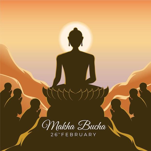 Illustration De La Journée Makha Bucha Vecteur gratuit