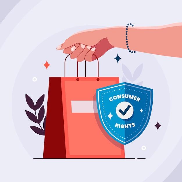 Illustration De La Journée Mondiale Des Droits Des Consommateurs Vecteur gratuit