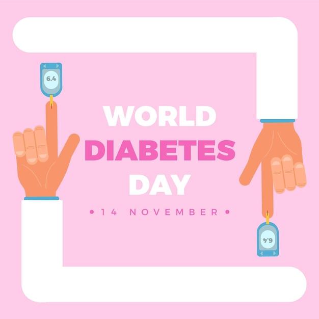 Illustration De La Journée Mondiale Du Diabète Design Plat Vecteur Premium