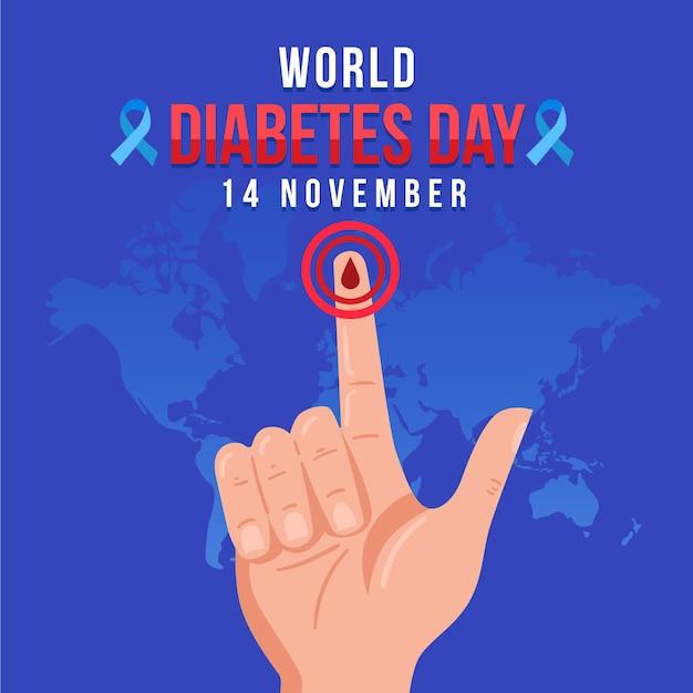 Illustration De La Journée Mondiale Du Diabète Avec Texte Vecteur gratuit