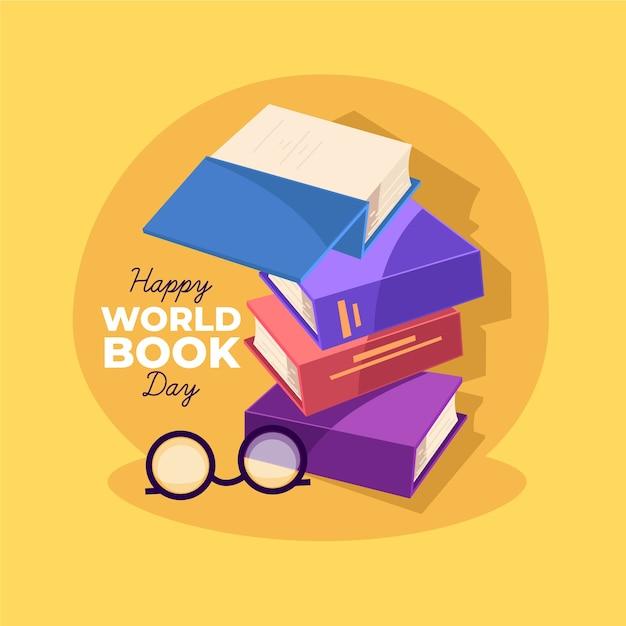 Illustration De La Journée Mondiale Du Livre Avec Collection De Livres Vecteur gratuit