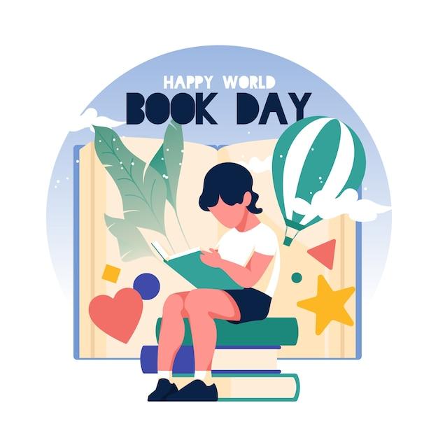 Illustration De La Journée Mondiale Du Livre Design Plat Vecteur gratuit