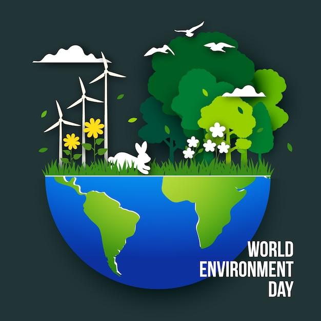 Illustration De La Journée Mondiale De L'environnement Dans Un Style Papier Vecteur gratuit