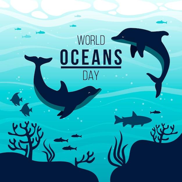 Illustration De La Journée Mondiale Des Océans Dessinée à La Main Vecteur gratuit
