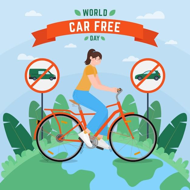 Illustration De La Journée Mondiale Sans Voiture Avec Femme à Vélo Vecteur Premium