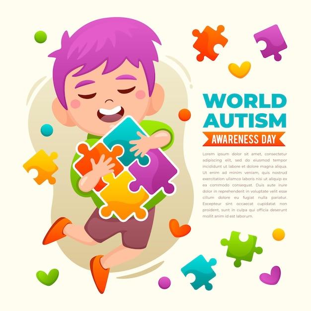 Illustration De La Journée Mondiale De Sensibilisation à L'autisme Dessinée à La Main Vecteur gratuit