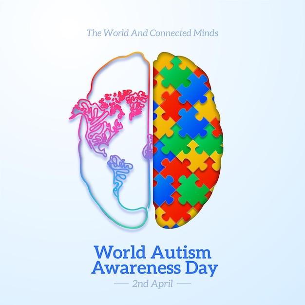 Illustration De La Journée Mondiale De Sensibilisation à L'autisme Réaliste Avec Des Pièces De Puzzle Vecteur gratuit