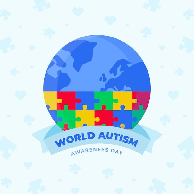 Illustration De La Journée De Sensibilisation à L'autisme Dans Le Monde Plat Avec Des Pièces De Puzzle Vecteur gratuit
