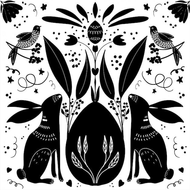 Illustration De Joyeuses Pâques Dessinés à La Main Vecteur Premium