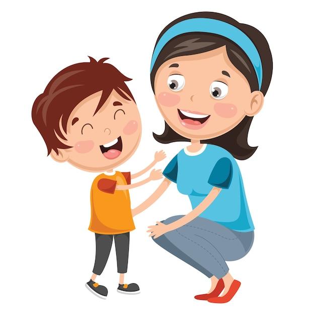 Illustration de kid avec la mère Vecteur Premium