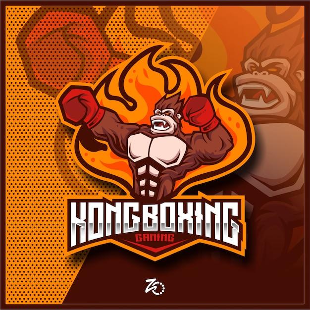 Illustration Kingkong Boxing Gaming Vecteur Premium