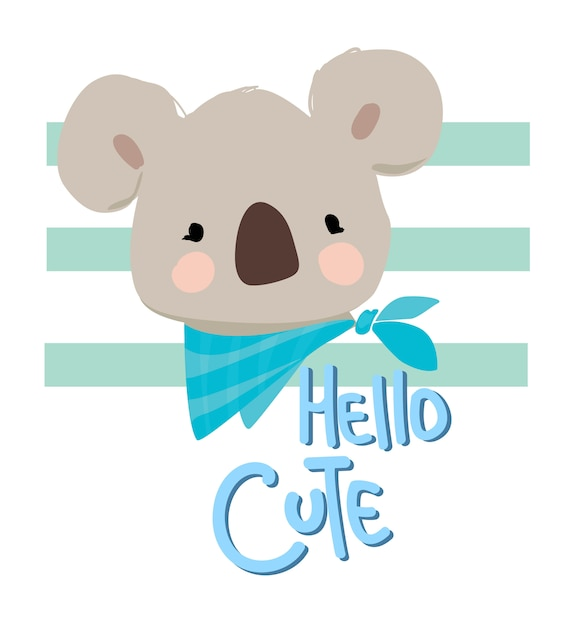 Illustration de koala mignon dessiné à la main Vecteur Premium
