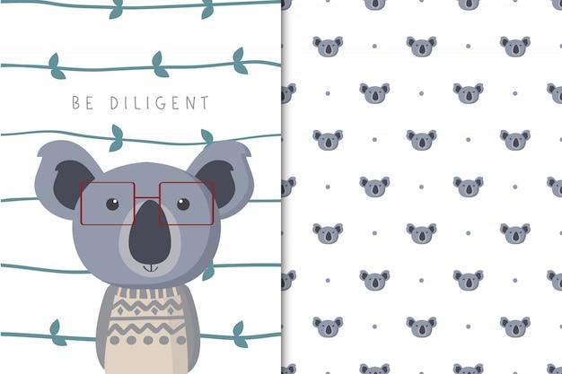 Illustration de koala mignon avec un motif sans soudure dans le fond blanc Vecteur Premium