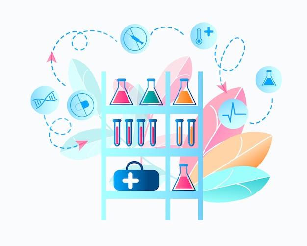 Illustration laboratoire médical recherche de virus Vecteur Premium