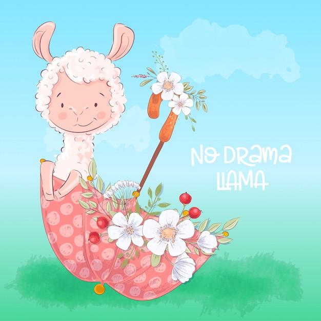 Illustration d'un lama mignon dans un parapluie avec des fleurs. Vecteur Premium