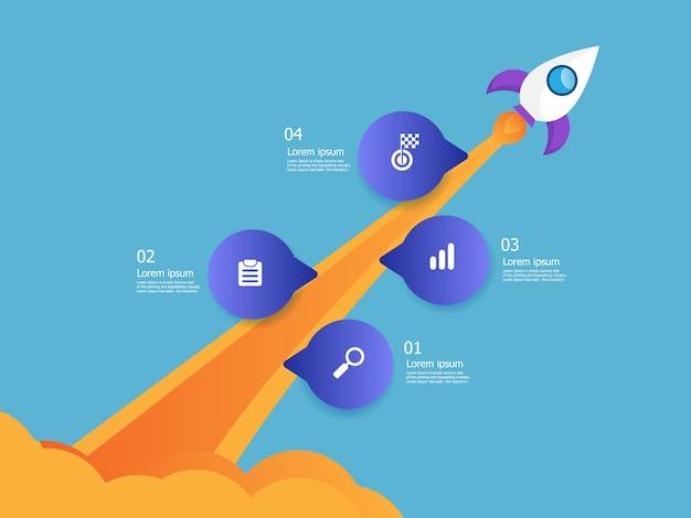 Illustration de lanceur de fusée entreprise démarrage chronologie verticale infographie 4 étapes vectorielles fond Vecteur Premium