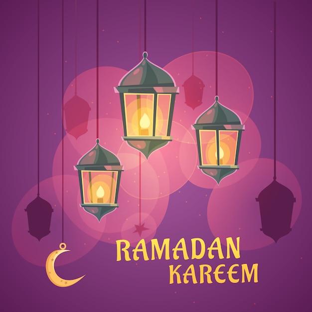 Illustration de lanterne ramadan de dessin animé Vecteur gratuit