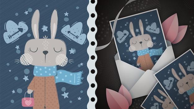Illustration De Lapin D'hiver Pour Carte De Voeux Vecteur Premium