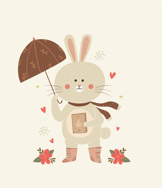 Illustration De Lapin Mignon Avec Parapluie Vecteur Premium