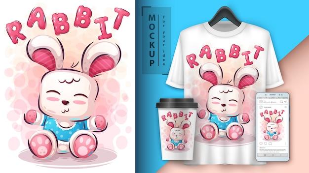 Illustration de lapin en peluche et merchandising Vecteur Premium