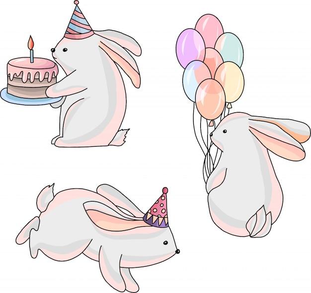 Illustration de lapins festifs Vecteur Premium