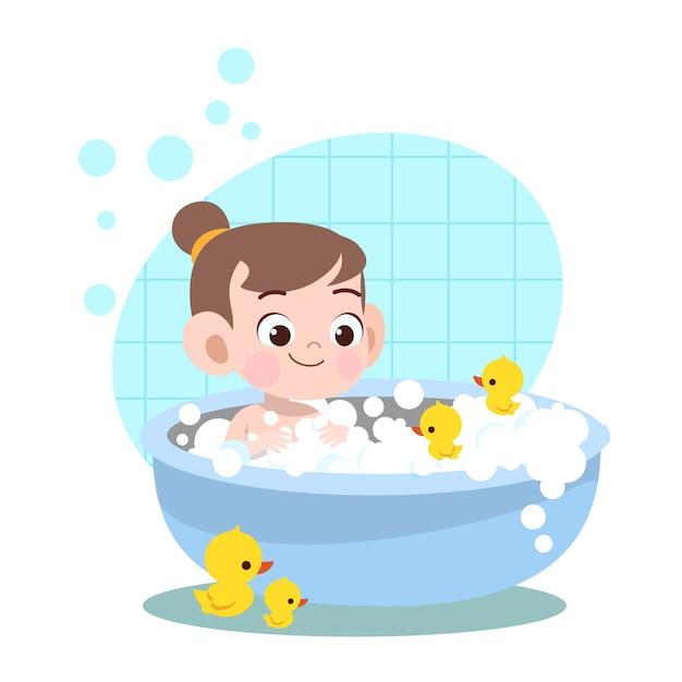 Illustration de lavage de bain fille kid Vecteur Premium