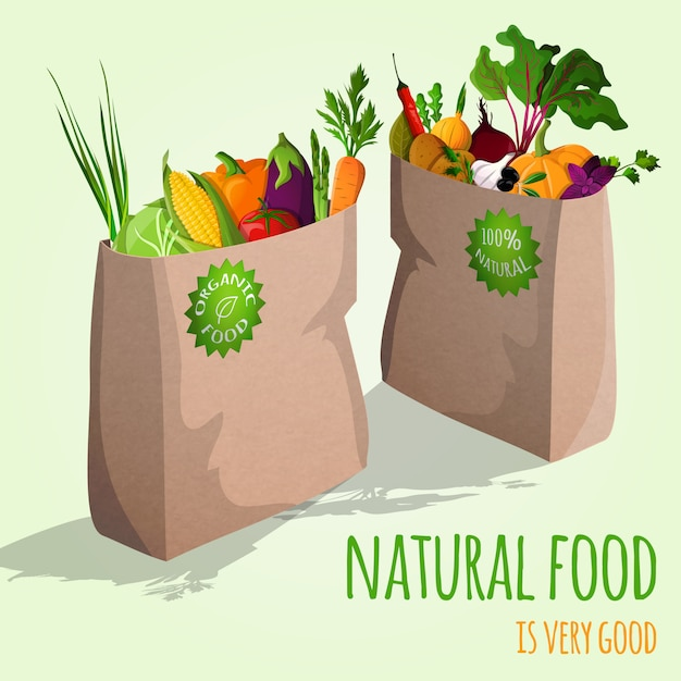 Illustration de légumes dans des sacs Vecteur gratuit