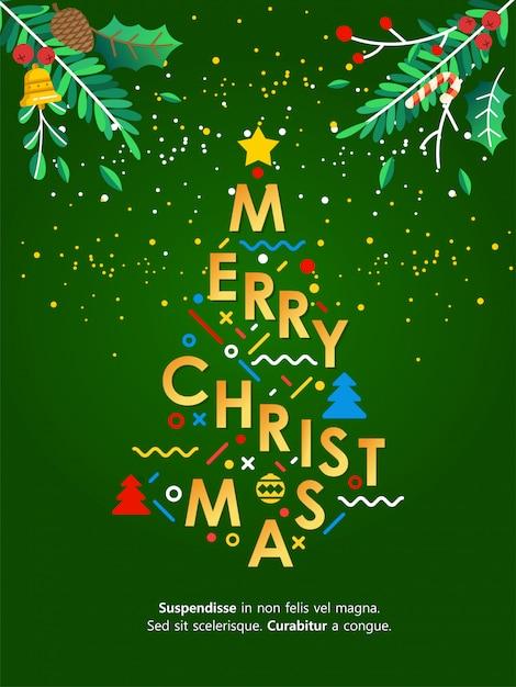 Illustration De Lettrage De Carte De Voeux De Noël Avec Arbre De Noël Vecteur Premium