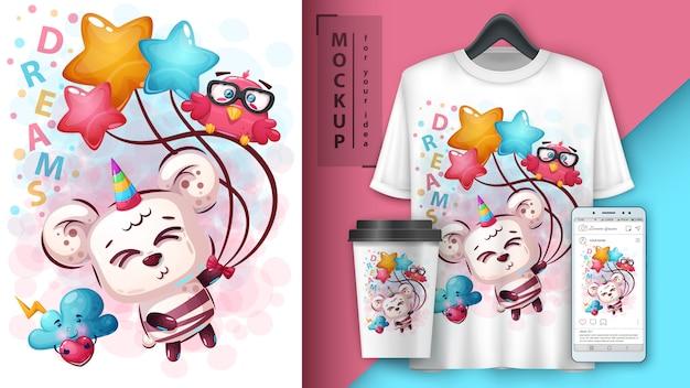 Illustration de la licorne ours mignon et merchandising Vecteur Premium