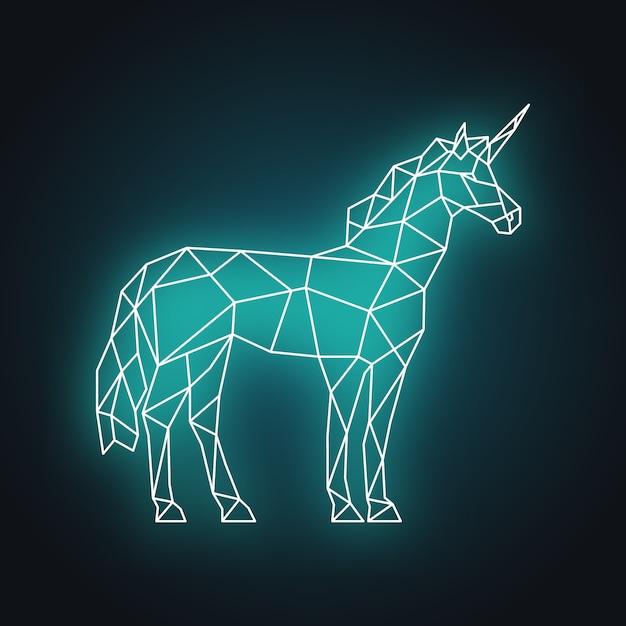 Illustration de la licorne polygonale. néon lueur. Vecteur Premium