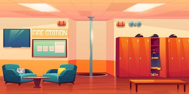 Illustration De Lieu De Travail De Pompiers Vide Intérieur Pompiers Vecteur gratuit