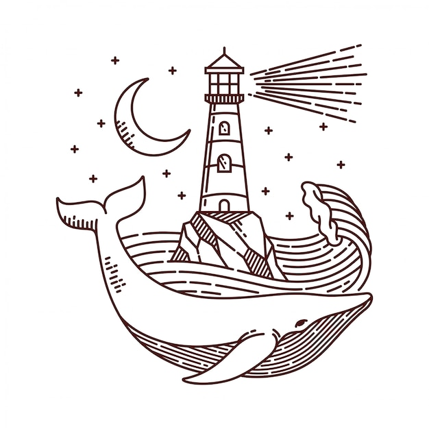 Illustration De Ligne Baleine Et Phare Vecteur Premium