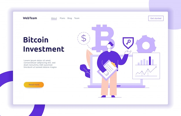 Illustration de ligne plate moderne vecteur bitcoin investissement Vecteur Premium