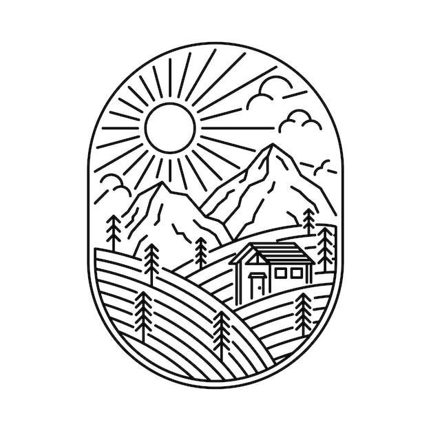 Illustration de ligne sauvage maison nature montagne Vecteur Premium