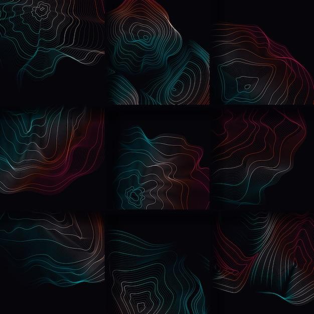 Illustration De Lignes De Contour Abstraites Colorées Vecteur gratuit