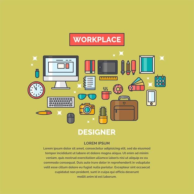 Illustration Linéaire De L'espace De Travail Pour Le Concepteur. Lieu De Travail Et Sujets Du Bureau D'affaires. Vecteur Premium