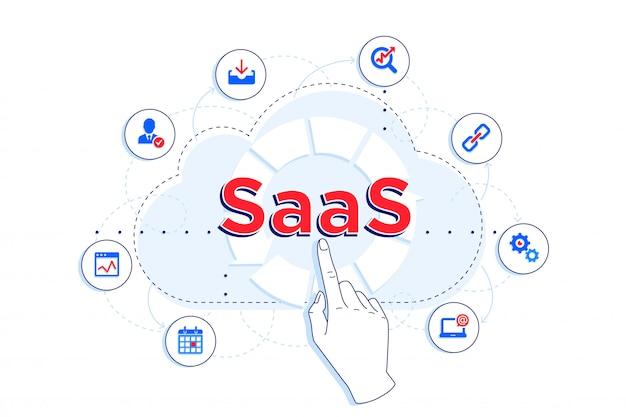 Illustration Linéaire Saas Et Ipaas. Client Utilisant Saas à Différentes Fins - Stockage, Statistiques, Cloud Computing. Vecteur Premium