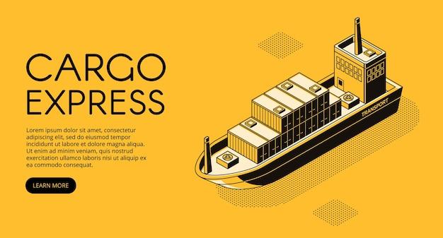 Illustration de la livraison du navire de dessin au trait mince dans le style de demi-teinte isométrique noir. Vecteur gratuit