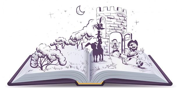 Illustration De Livre Ouvert Conte Des Musiciens De Brême Vecteur Premium