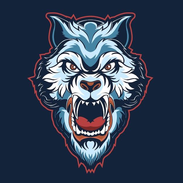 Illustration De Logo Bleu Tête De Tigre Isolée Sur Noir Vecteur Premium