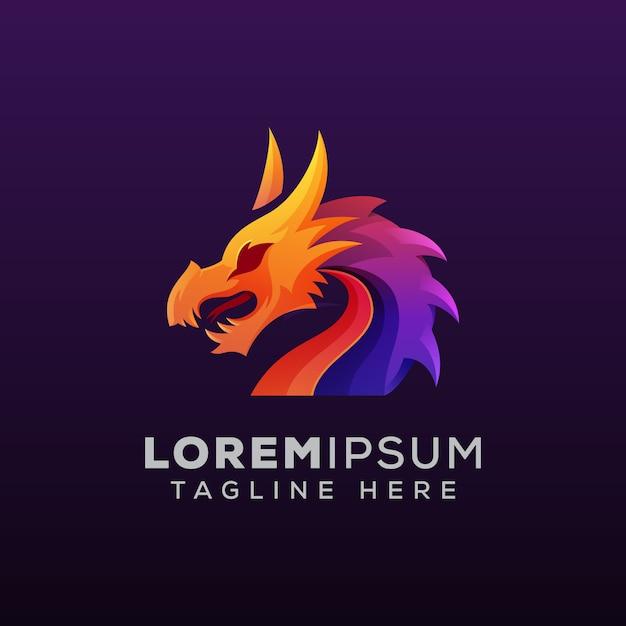 Illustration Logo Coloré Dragon Mythologique Vecteur Premium